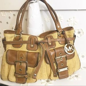 Michael Kors  Leather and Straw Satchel